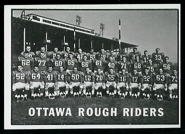 Ottawa Rough Riders Team 1961 Topps CFL football card