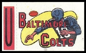 Baltimore Colts 1961 Topps Flocked Stickers football card