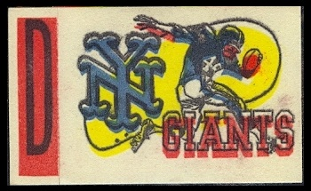 New York Giants 1961 Topps Flocked Stickers football card