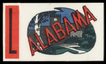 Alabama 1961 Topps Flocked Stickers football card