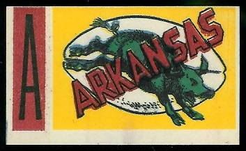 Arkansas 1961 Topps Flocked Stickers football card