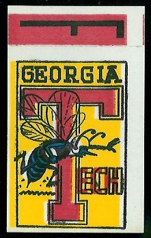 Georgia Tech 1961 Topps Flocked Stickers football card