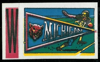 Michigan 1961 Topps Flocked Stickers football card