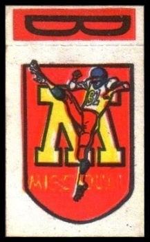 Missouri 1961 Topps Flocked Stickers football card