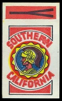 Southern California 1961 Topps Flocked Stickers football card