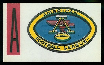 AFL 1961 Topps Flocked Stickers football card