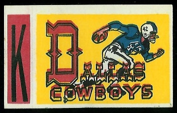 Dallas Cowboys 1961 Topps Flocked Stickers football card