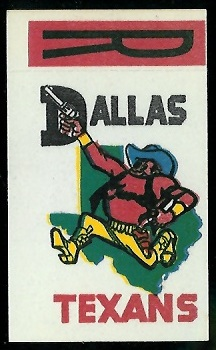 Dallas Texans 1961 Topps Flocked Stickers football card