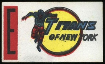 Titans of New York 1961 Topps Flocked Stickers football card