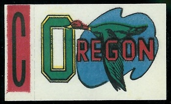 Oregon 1961 Topps Flocked Stickers football card