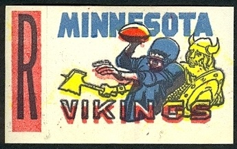 Minnesota Vikings 1961 Topps Flocked Stickers football card