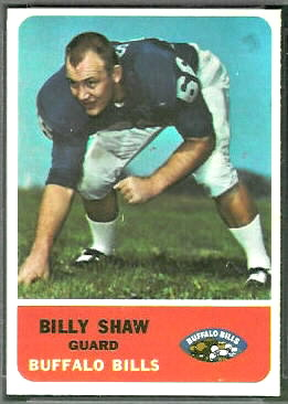Billy Shaw 1962 Fleer football card