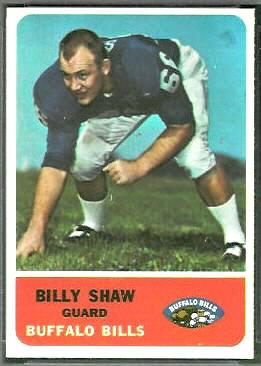 Billy Shaw 1962 Fleer football card