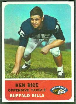 Ken Rice 1962 Fleer football card