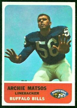 Archie Matsos 1962 Fleer football card
