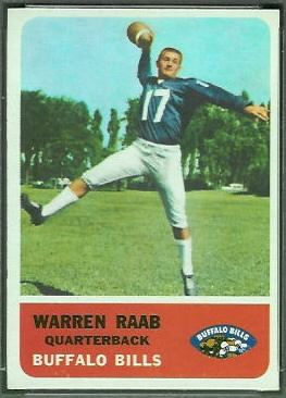 Warren Rabb 1962 Fleer football card