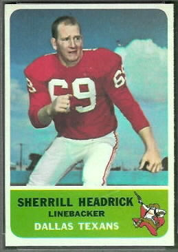 Sherrill Headrick 1962 Fleer football card