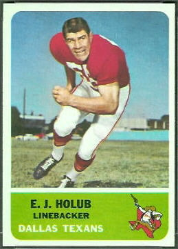 E.J. Holub 1962 Fleer football card