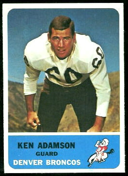 Ken Adamson 1962 Fleer football card