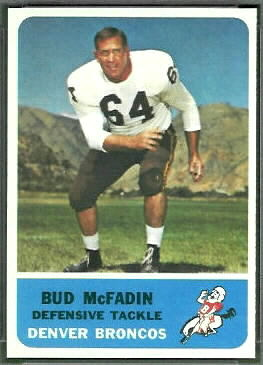 Bud McFadin 1962 Fleer football card