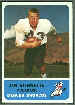 Jim Stinnette 1962 Fleer football card