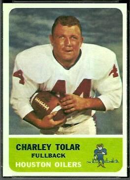Charley Tolar 1962 Fleer football card
