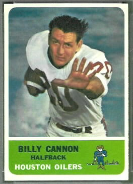 Billy Cannon 1962 Fleer football card