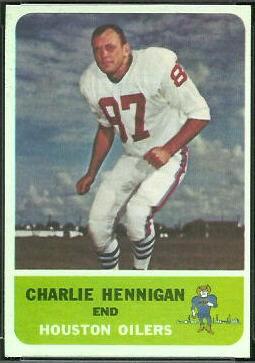 Charlie Hennigan 1962 Fleer football card