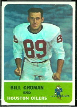 Bill Groman 1962 Fleer football card