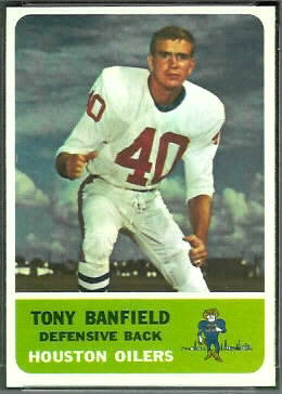 Tony Banfield 1962 Fleer football card