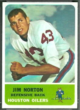 Jim Norton 1962 Fleer football card