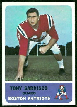 Tony Sardisco 1962 Fleer football card
