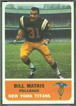 Bill Mathis 1962 Fleer football card
