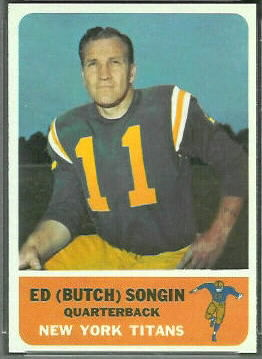 Ed Songin 1962 Fleer football card