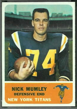 Nick Mumley 1962 Fleer football card