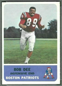 Bob Dee 1962 Fleer football card