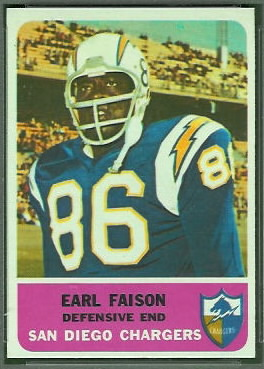 Earl Faison 1962 Fleer football card
