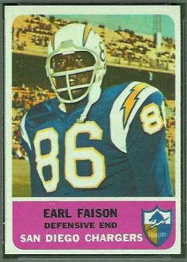 Earl Faison 1962 Fleer football card