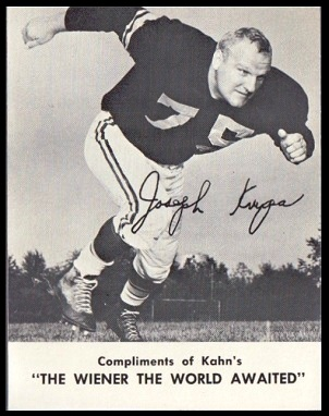 Joe Krupa 1962 Kahns football card