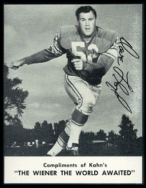 Dave Lloyd 1962 Kahns football card