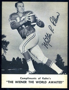 Milt Plum 1962 Kahns football card