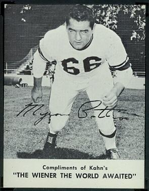 Myron Pottios 1962 Kahns football card
