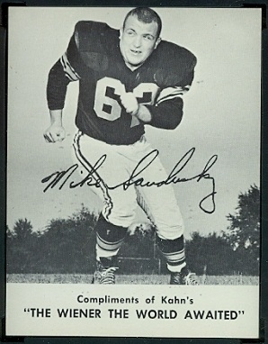 Mike Sandusky 1962 Kahns football card