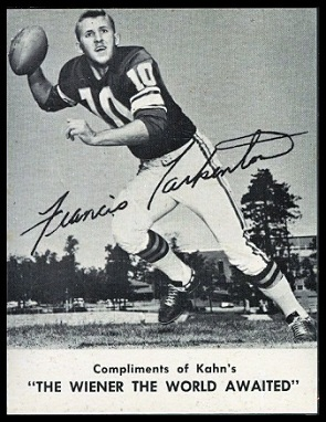 Fran Tarkenton 1962 Kahns football card