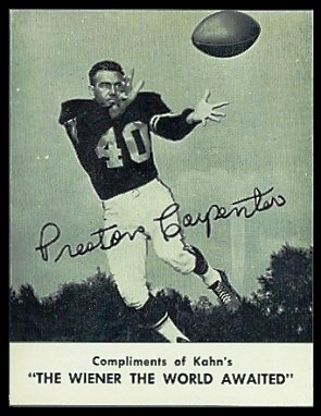 Preston Carpenter 1962 Kahns football card