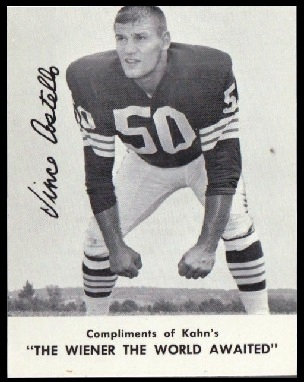 Vince Costello 1962 Kahns football card