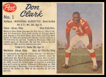 Don Clark 1962 Post CFL football card