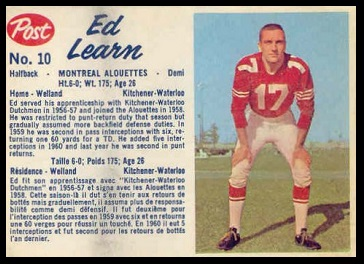Ed Learn 1962 Post CFL football card