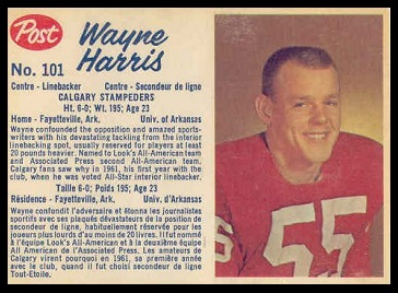 Wayne Harris 1962 Post CFL football card