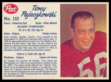Tony Pajaczkowski 1962 Post CFL football card